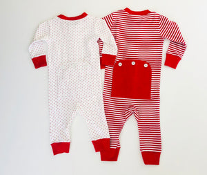 Red Stripe Drop Seat Pajamas
