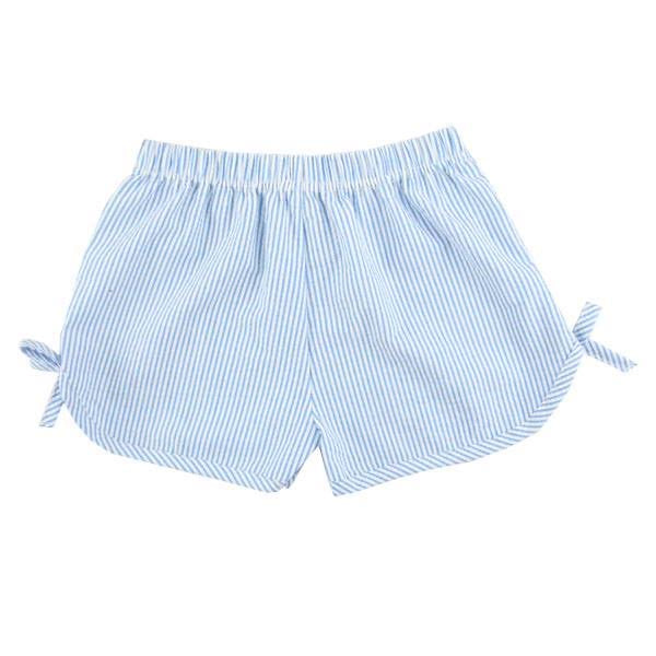 Baby Blue Girls Side Tie Seersucker Shorts, PRE-ORDER extras, ships beginning of June
