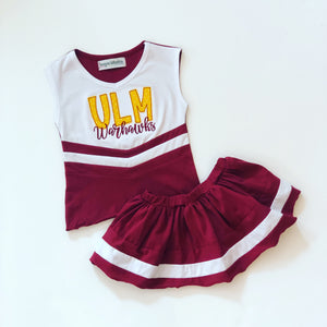 PRE-ORDER #8—Burgundy/White Cheer Outfit