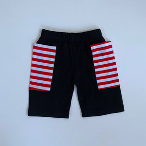 Black/Red Stripe Pocket Shorts