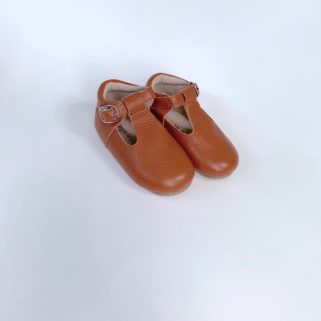 Tan T-Strap Shoes