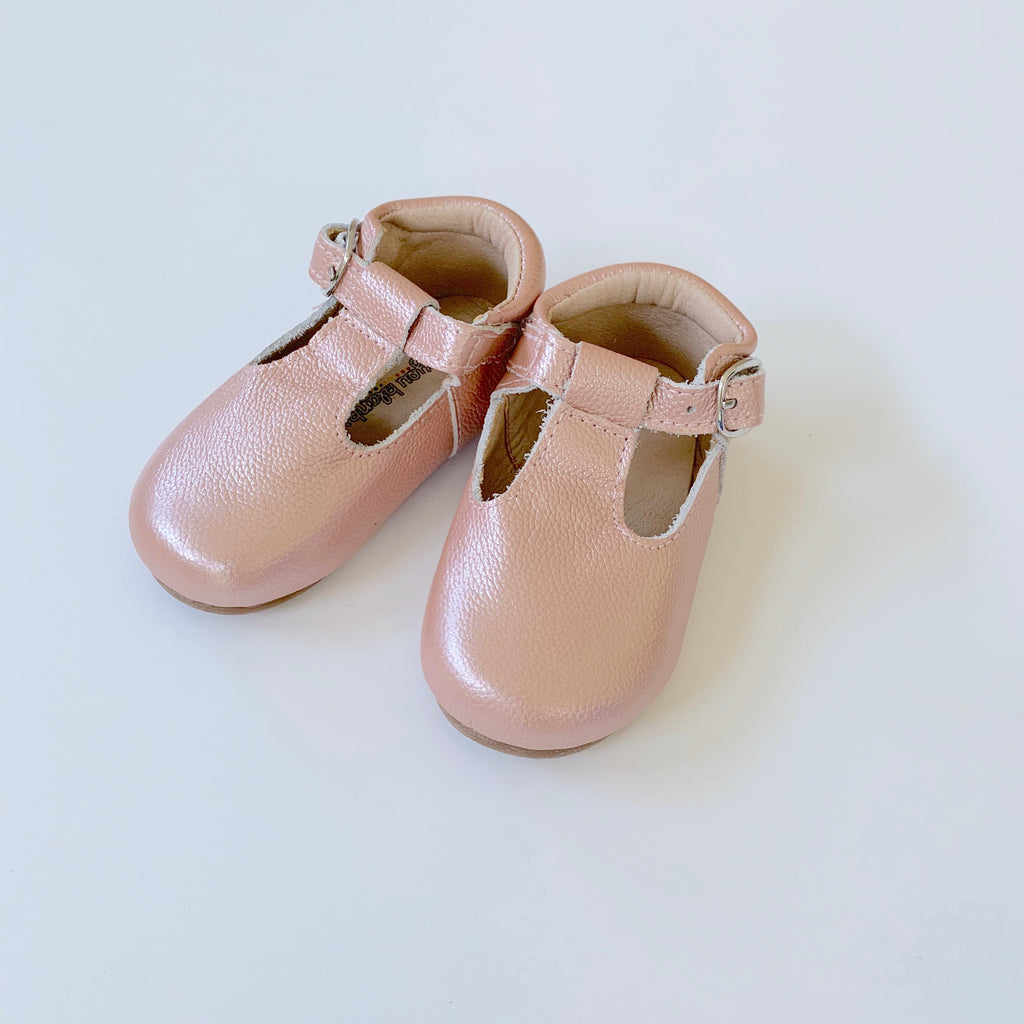 Pearl Pink T-Strap Shoes
