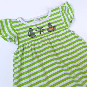 Lime Stripe Flutter Sleeve Dress