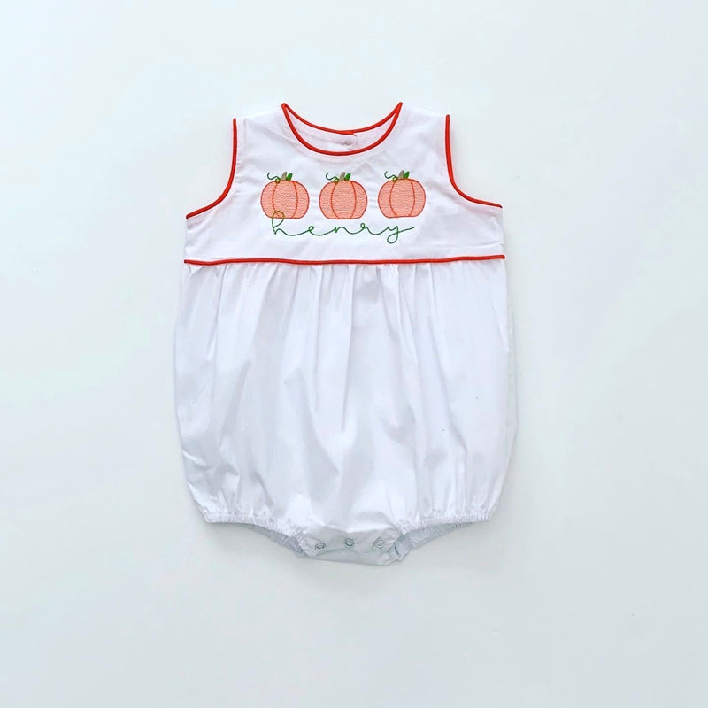White Unisex Bubble with Orange Piping