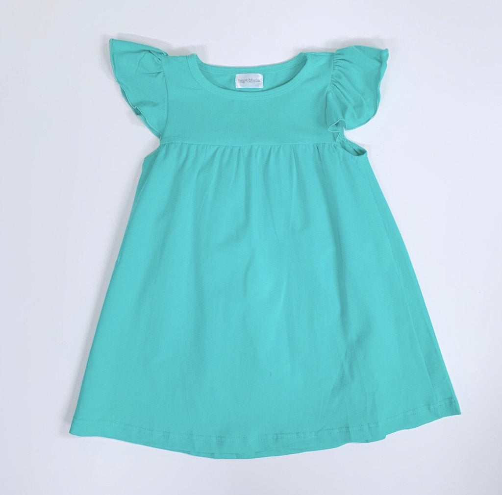 Aqua Flutter Sleeve Dress, PRE-ORDER Extras, ships beginning of June