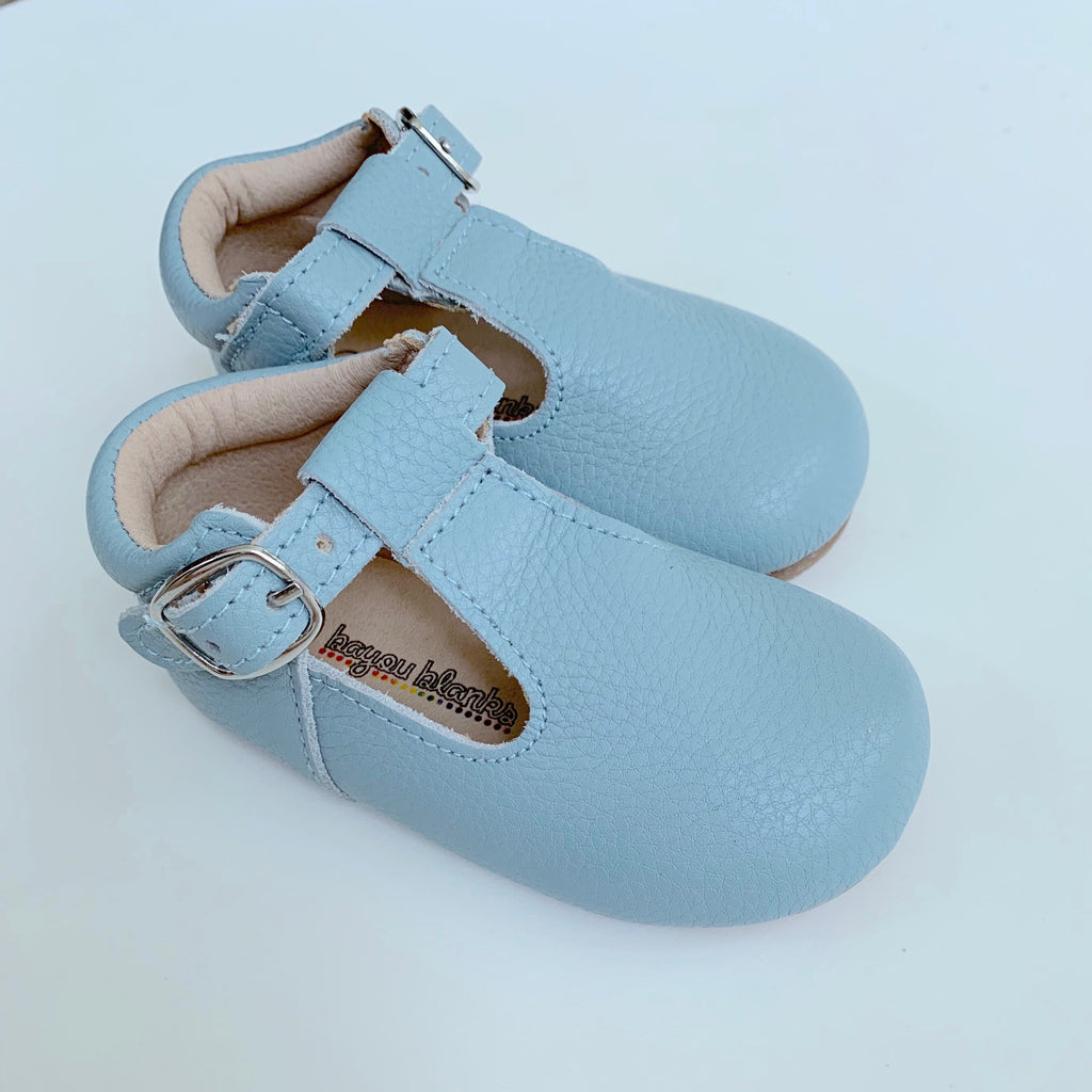 Light Blue T-Strap Shoes