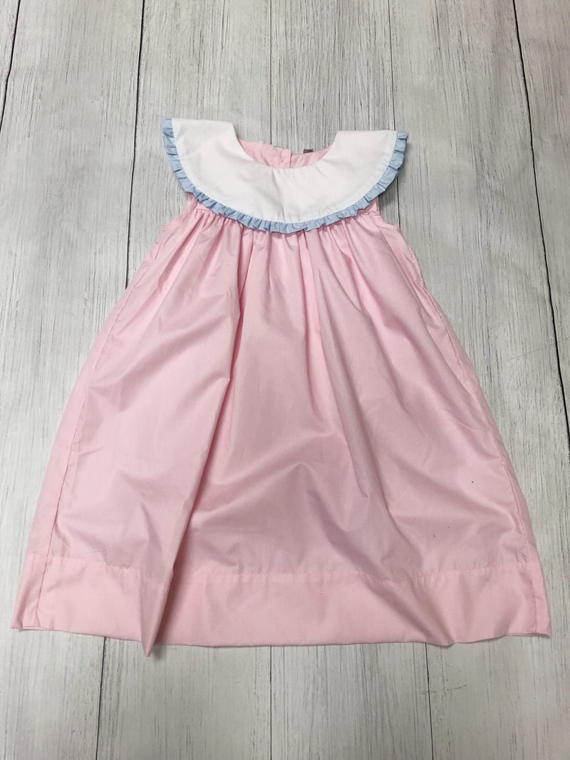 Pink and Blue Dress with white collar