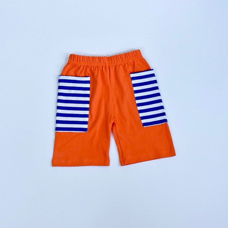 Orange/Royal Stripe Pocket Shorts