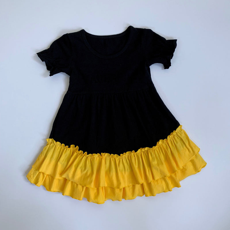 Black/Gold Ruffle Dress