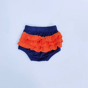 Navy/Orange Ruffle Bloomers