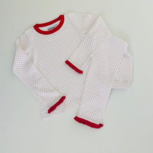 Red Bitty Dot Ruffle Pajamas Pre-Order