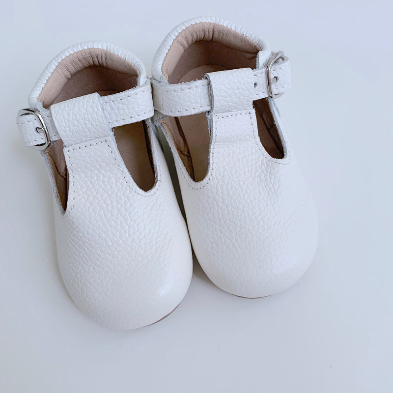 White T-Strap Shoes