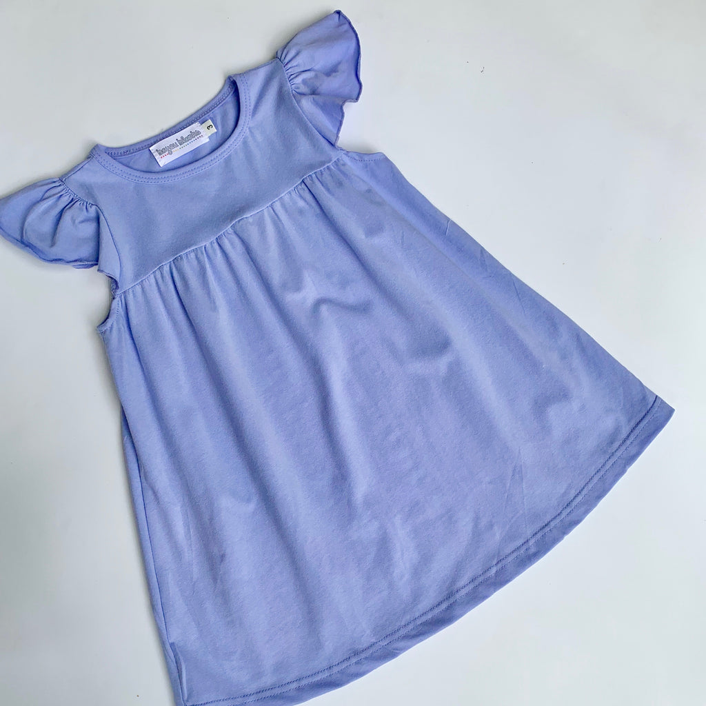 Periwinkle Flutter Sleeve Dress