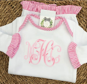 Gingham Ruffle Trim Infant Gown - Pink