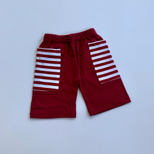 Maroon/Crimson/White Stripe Pocket Shorts