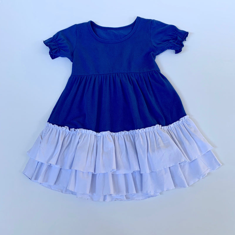 Royal/White Ruffle Dress