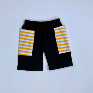 Black/Gold Stripe Pocket Shorts