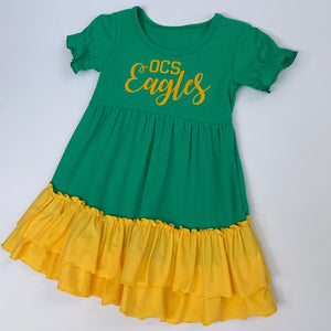 Green/Gold Ruffle Dress