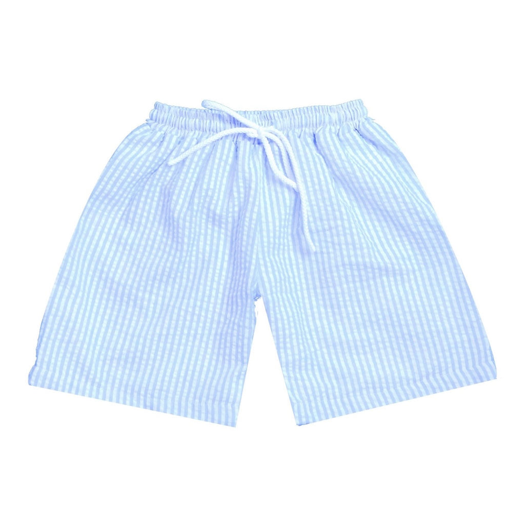 Baby Blue Seersucker Swim - Boy Trunk
