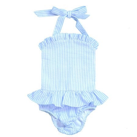 Baby Blue Seersucker Swim - GIRL 1PC - Limited Pre-Order
