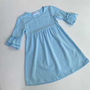 Baby Blue Double Ruffle Sleeve Dress