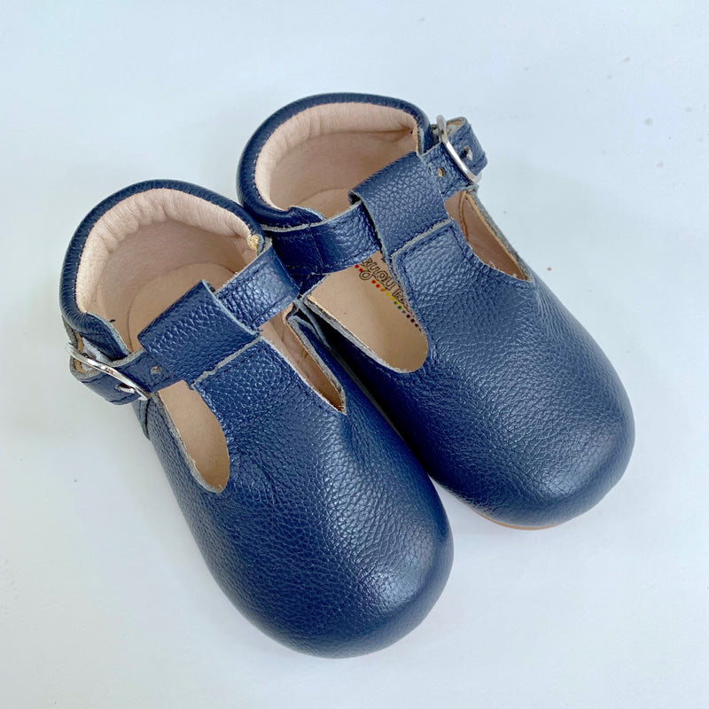 Navy T-Strap Shoes