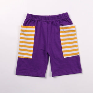 Purple/Gold Stripe Pocket Shorts
