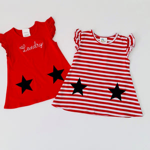 Red Stripe Star Pocket Dress