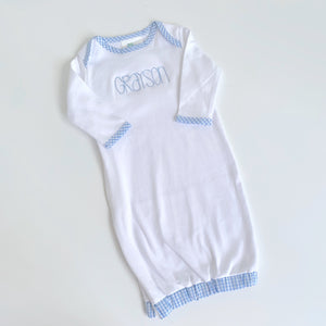 Gingham Trim Infant Gown - Blue