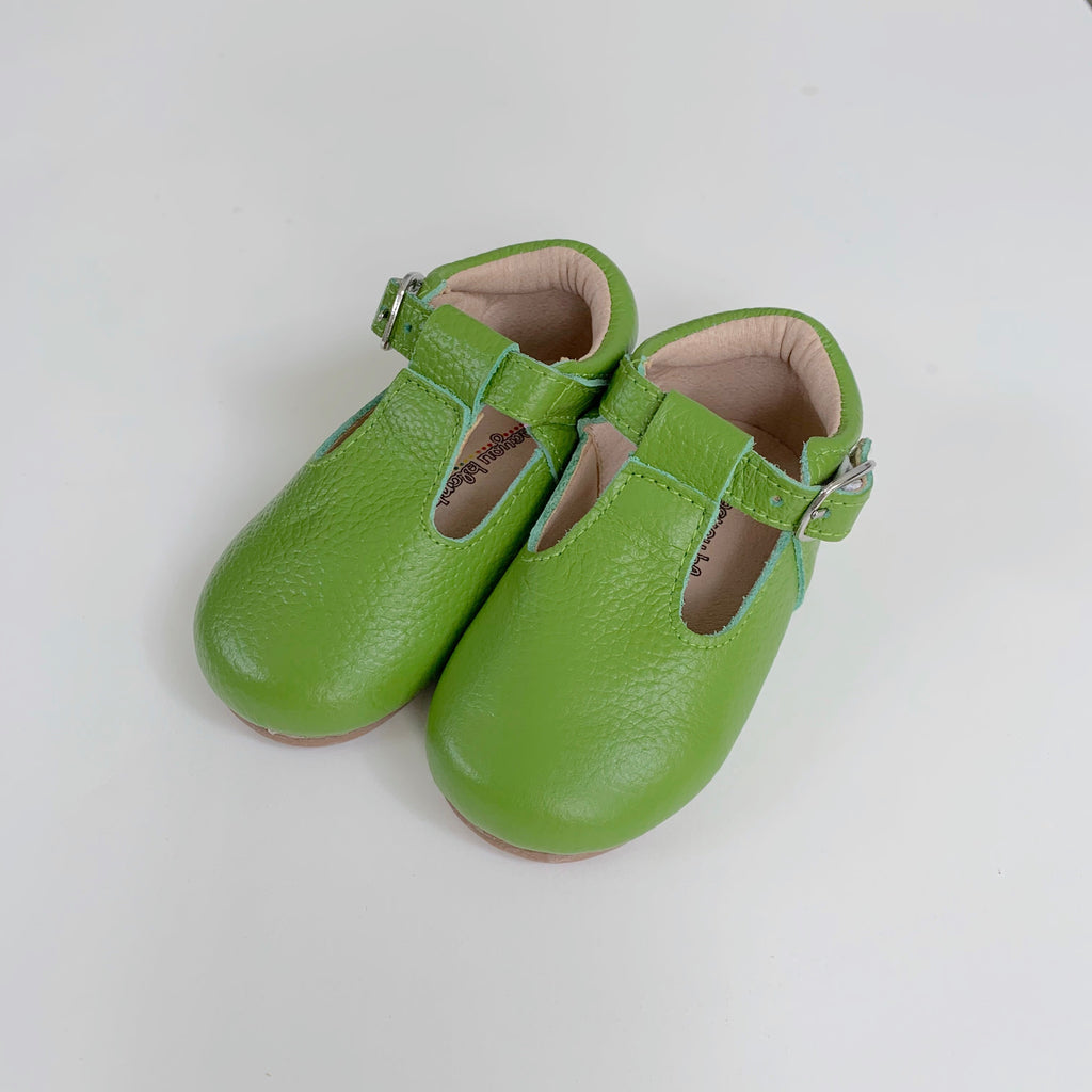 Green T-Strap Shoes