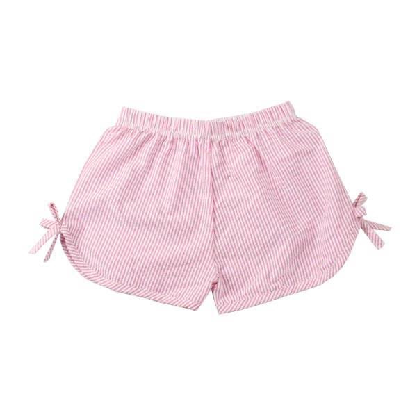 Pink Girls Side Tie Seersucker Shorts