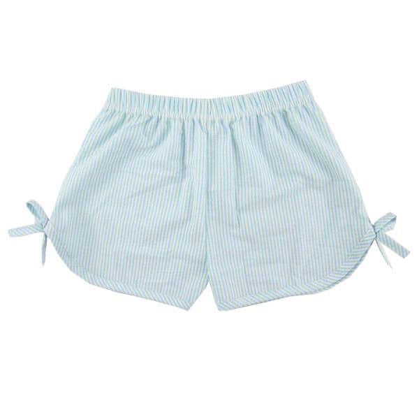 Aqua Girls Side Tie Seersucker Shorts, PRE-ORDER extras, ships beginning of June