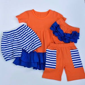 Orange/Royal Ruffle Dress