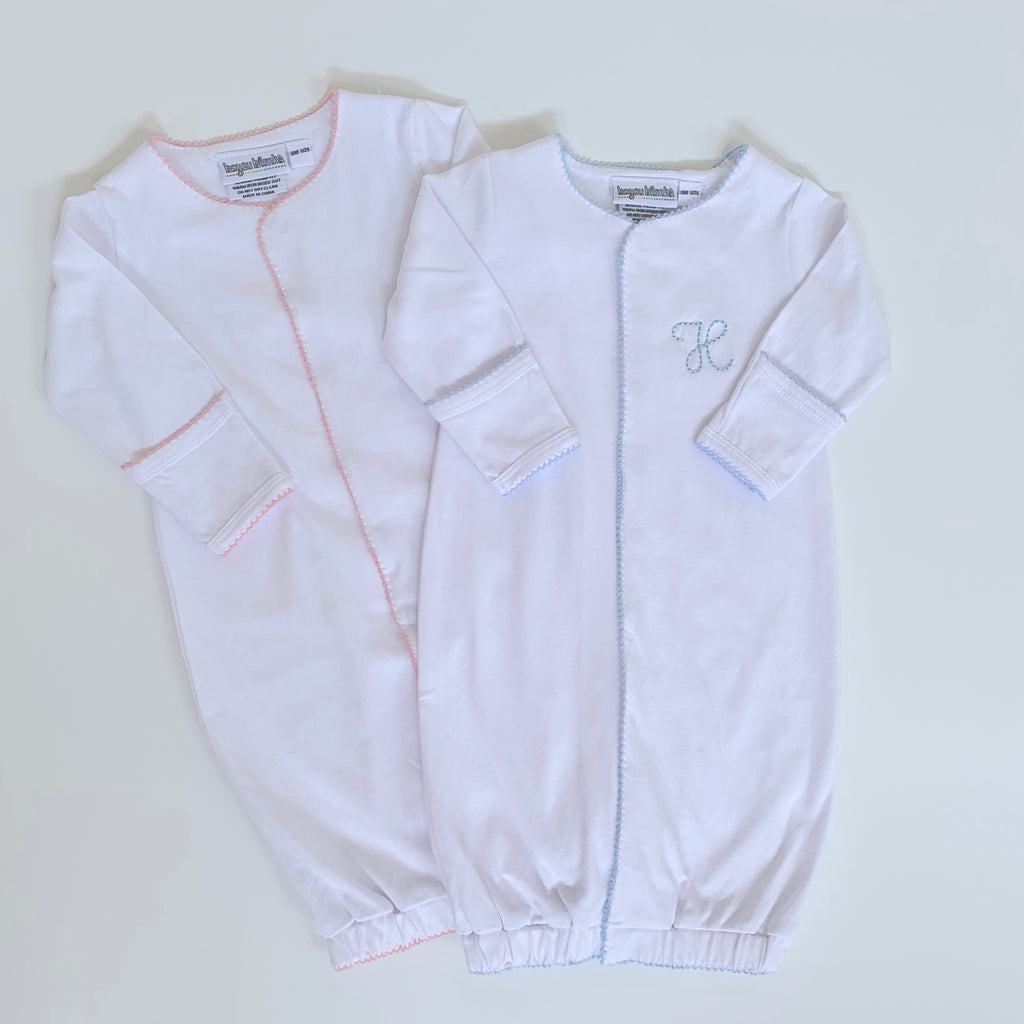 Organic Cotton Infant Gown with Picot Trim