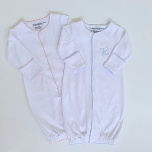 Picot Trim Infant Gown with Hidden Snaps