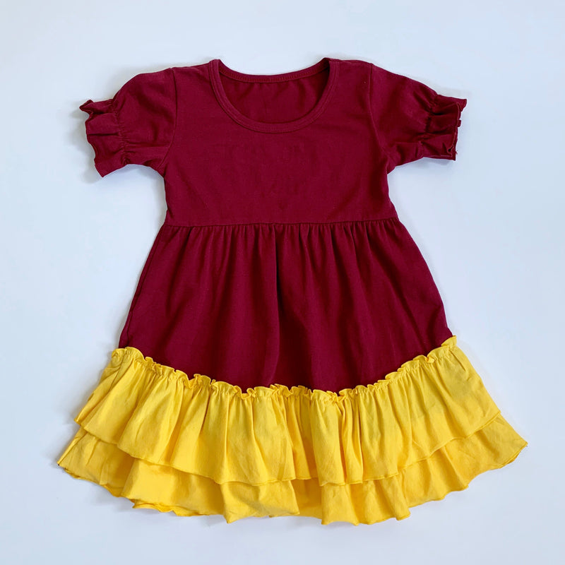 Maroon/Gold Ruffle Dress
