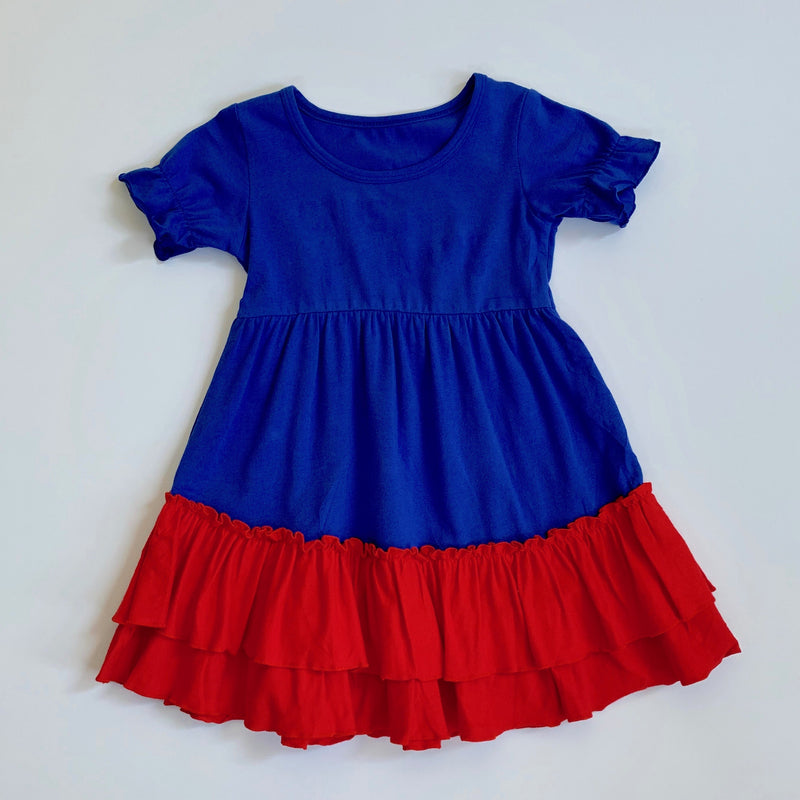 Royal/Red Ruffle Dress