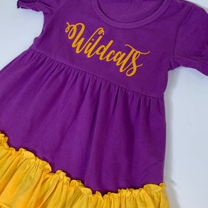 Purple/Gold Ruffle Dress