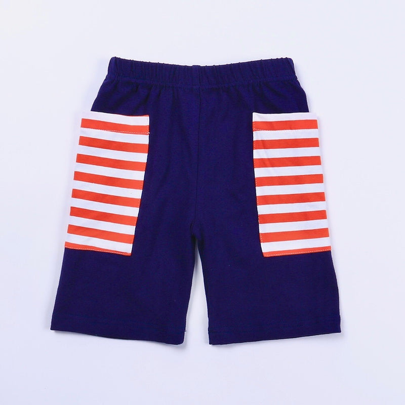 Navy/Orange Stripe Pocket Shorts