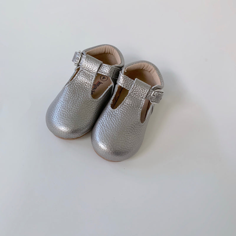 Silver T-Strap Shoes