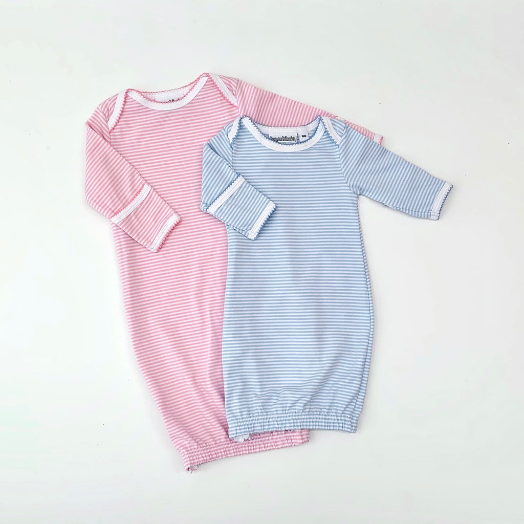 Picot Trim Stripe Infant Gown