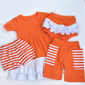 Orange/White Ruffle Bloomers