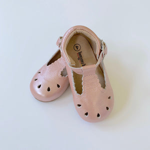 Pearl Pink Scallop T-Strap Shoes