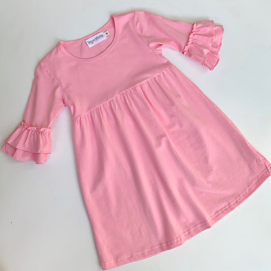 Pink Double Ruffle Sleeve Dress