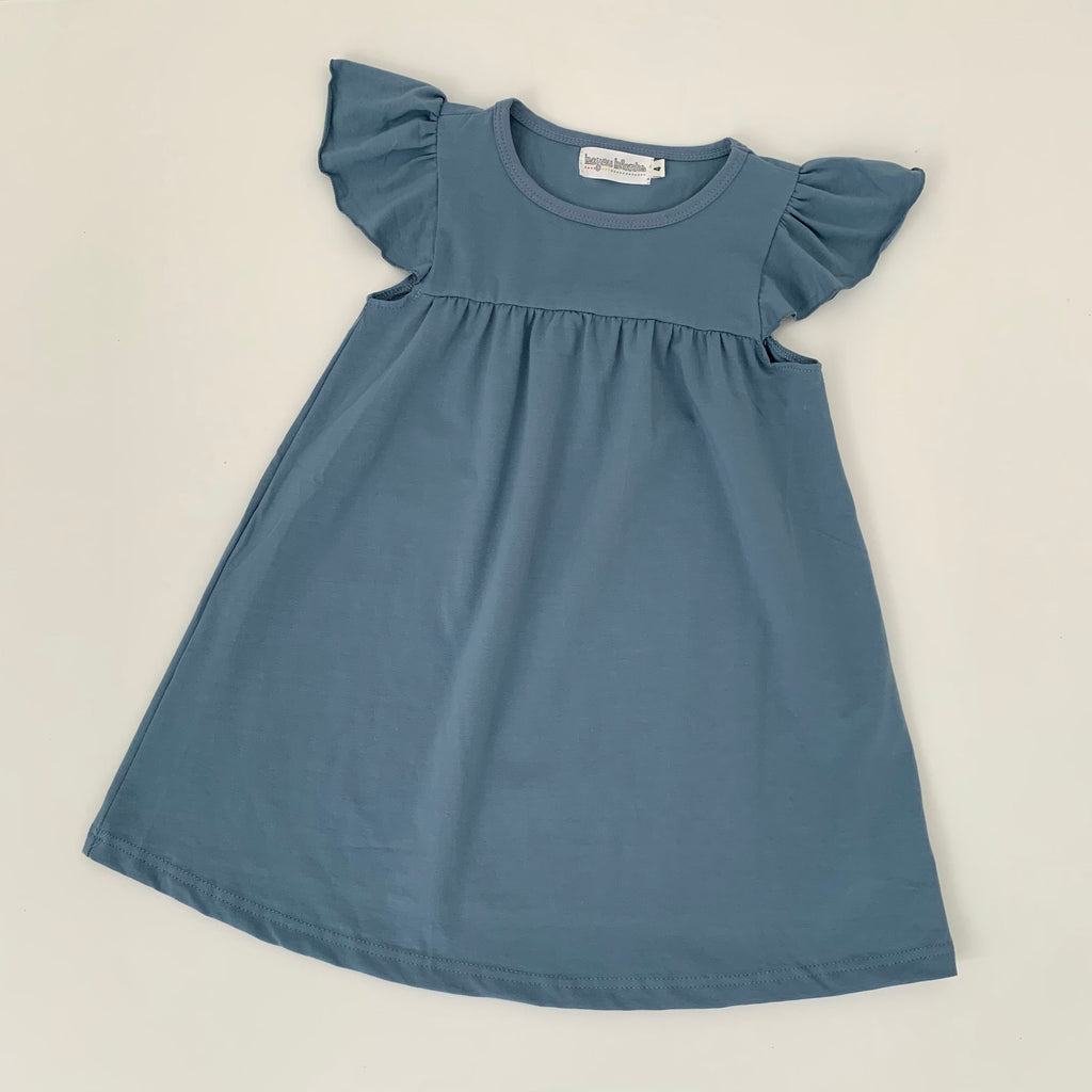 Slate Blue Flutter Sleeve Dress