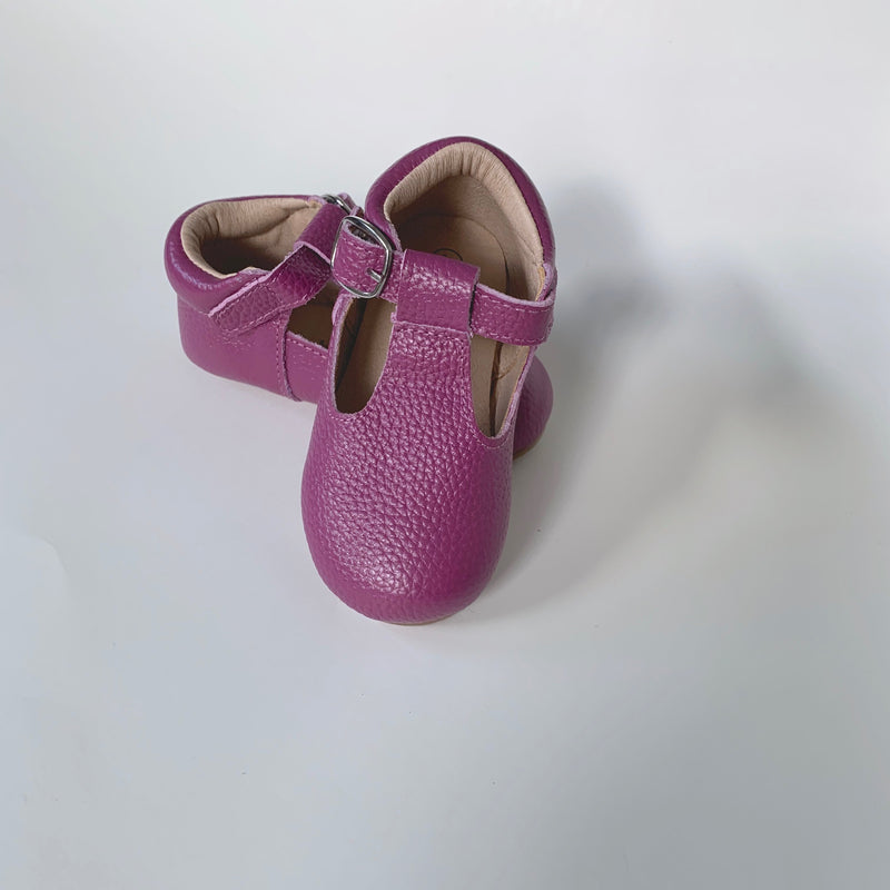 Plum T-Strap Shoes
