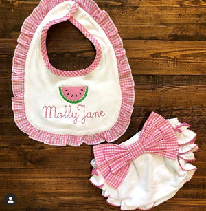 Gingham Bow Ruffle Diaper Cover - Pink