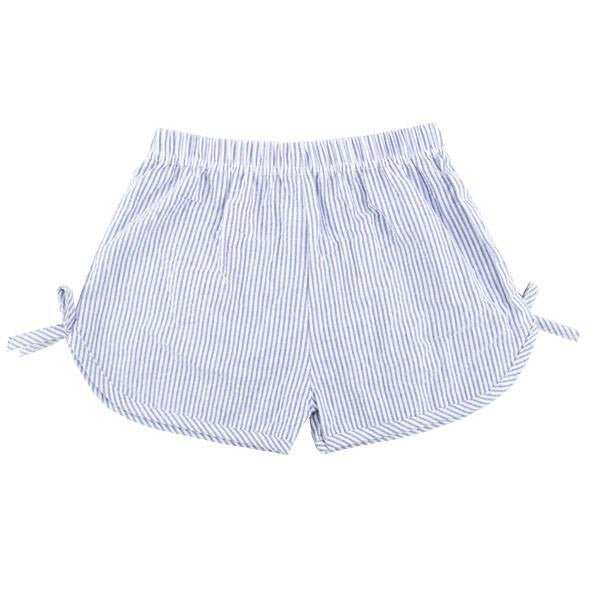 Navy Girls Side Tie Seersucker Shorts, PRE-ORDER Extras, ships beginning of June