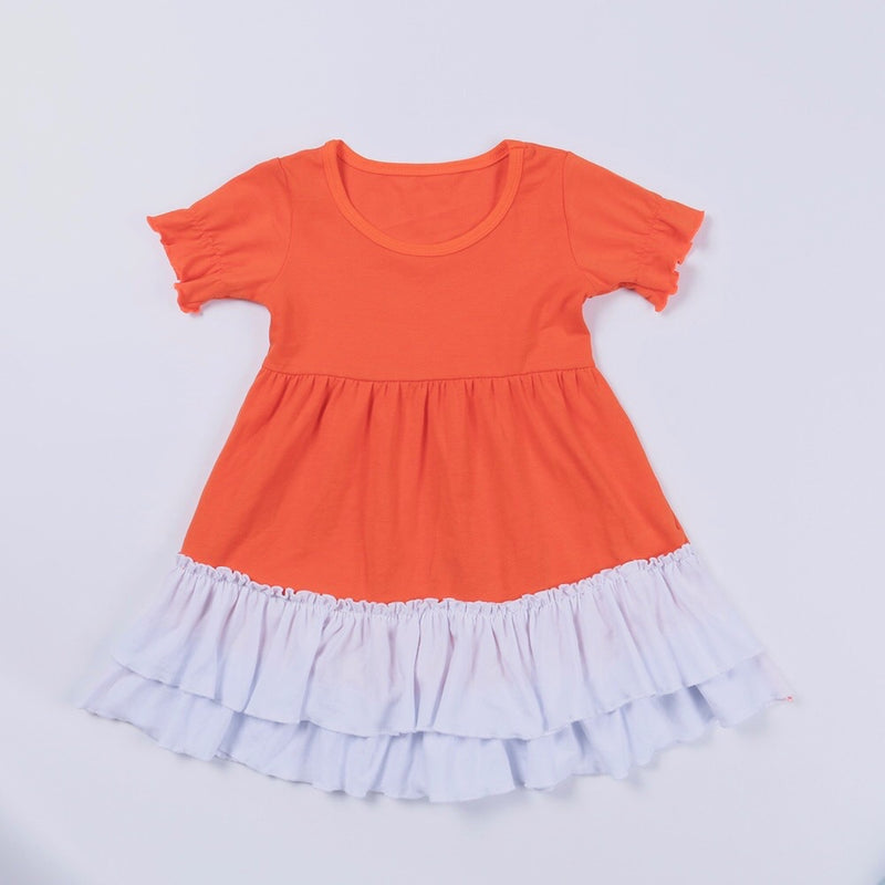 Orange/White Ruffle Dress