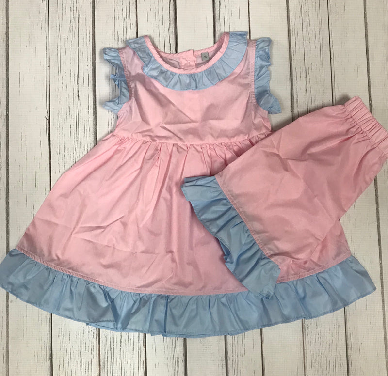 Pink and Blue Ruffle  Short Set